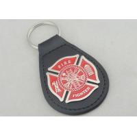 Wholesale Zinc Alloy Personalized Leather Keychains / Fire Fighter Leather Key Chain from china suppliers