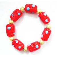 Wholesale Red Lampwork Glass Beads Bracelet , Zinc Alloy Plated Hand Beaded Jewellery from china suppliers