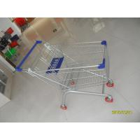 Wholesale Europe Style 100L Supermarket Shopping Carts Grocery With Blue Plastic Parts from china suppliers