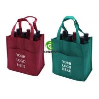 China Divided 6 Bottle Wine Tote Bag , Silk Screen Custom Non Woven Bags Eco Friendly on sale