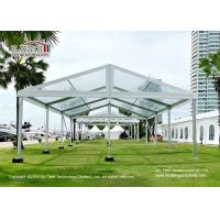 500 Seaters Aluminum Transparent Luxury Wedding Tents With White Decoration for sale