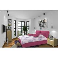 Wholesale Cheap Apartment Furniture Space Saving New Residence Bedroom Fabric Upholstered Bed with Melamine Nightstand Side table from china suppliers