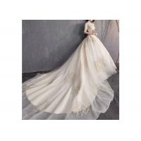 Wholesale Fashion Off White Long Tail Wedding Dress With Half Sleeve And High Collar from china suppliers