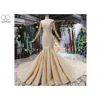 Wholesale Sling Gold Tailor Made Prom Dresses Deep V Neck Lace Fishtail Beaded Shawl from china suppliers