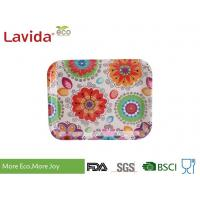 Wholesale 13 Inch Bamboo Fiber Tray , Plastic Rectangular Tray Customized Colorful Flower Design from china suppliers