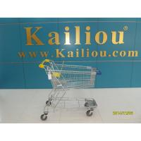 Wholesale 130L Supermarket store Metal Shopping Cart With Curve Handle and swivel flat casters from china suppliers