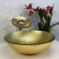 Wholesale lavabo bathroom hand painted and foiled glass sink from china suppliers