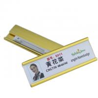 Wholesale Aluminum Custom Magnetic Name Badges , Engraved Metal Name Tags With Safety Pin from china suppliers