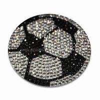 Wholesale Crystal Car Decal Sticker in Football Shape, OEM Orders are Welcome, Various Colors are Available from china suppliers