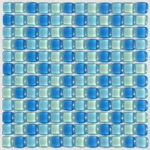 Round blue crystal glass mosaic tile cushion look for Bathroom cushion floor tiles