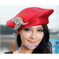 Beret Red / Silver Satin Braid Ladies Church Hats , womens ...