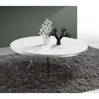 Contemporary White Marble Round Coffee Table For Living