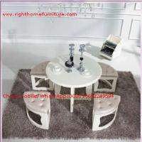 Wholesale White painting Circular Leisure time tea table and upholstery stool from china suppliers