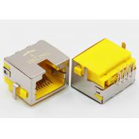 Right Angle 8P8C RJ45 Female PCB Connector Tab Up Yellow Housing Sinking