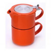 Wholesale Ceramic teapot set with stainless steel infuser and lid glossy glaze stoneware from china suppliers