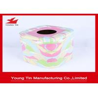Wholesale Empty Square Metal Tins With CMYK Printing , Tinplate Material Type Tissue Paper Holder from china suppliers