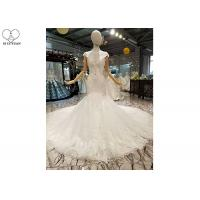 Wholesale Off White Ladies Bridal Gown / Sleeveless Fishtail Wedding Gown Beaded Lace from china suppliers