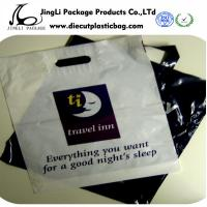 Buy cheap Black printing Die-cut Patch Handle Bags HDPE LDPE Plastic Retail Bags from wholesalers