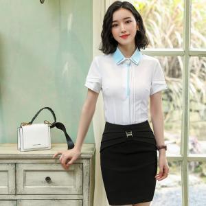 Wholesale Short Sleeve Ladies Office Dresses / Summer Elegant Waist Tie Round Collar Women Business Dress from china suppliers