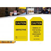 Wholesale Yellow  UV printingDurable PVC Paper  Scaffolding Tags with 6MM Padlock from china suppliers
