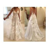 Wholesale V Neck Flower Lace A Line Wedding Dress of Floor Length Plus Size from china suppliers