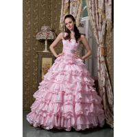 Wholesale Empire Pink One Shoulder Floor Length Princess Taffeta Wedding Bridal Gown With Beads from china suppliers