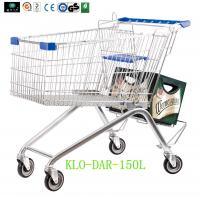 Wholesale Low Carbon Steel Metal Shopping Cart With Wheels / Supermarket Shopping Trolleys from china suppliers