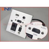 China Aluminum silver Brushed Multi - functional Wall Socket Plates with 10 cm HDMI cables on sale