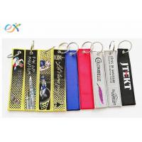 Wholesale Personalized Woven Keychain With Logo , Custom Fabric Keychains Rectangle Shape from china suppliers
