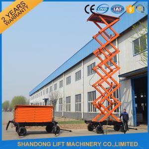 China High Raising 4 Wheel Aerial Work Platform ,  CE 18m Hydraulic Electric Mobile Scissor Tables on sale