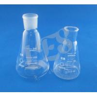 China customized glass quartz Erlenmeyer flask  ,quartz glass conical lab  flask grinding mouth with  measuring line on sale
