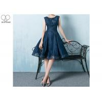 Wholesale Navy Blue Lace Short Length Prom Dresses Knee Length Sleeveless And Beading from china suppliers