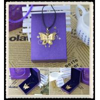 Men's Stainless Steel Gold Butterfly Pendant Necklace , Chain Pendant Necklace Manufactures