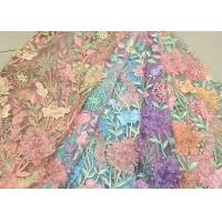 Wholesale Bead Embroidered Lace Fabric, Scalloped Multi Color 3D Flower Lace Fabric For Dress from china suppliers