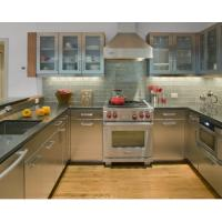 China Integrated U Shape Stainless Steel Kitchen Cabinets With Grey Countertop on sale