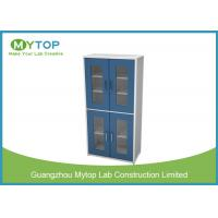 China Multi Layer Glassware Laboratory Storage Cabinet With Water Tray Swing Glass Door on sale
