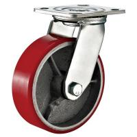 Wholesale Red Heavy Duty Swivel Plate Caster Wheel / 6 Inch Caster Wheels Polyurethane On Iron from china suppliers
