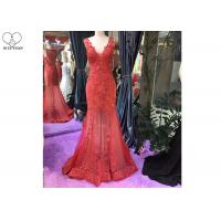 Wholesale Long Tail Elegant Red Evening Gowns Beading Sleeveless Deep V Transparent Back from china suppliers