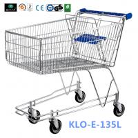 Wholesale 4 Wheeled 135L Metal Wire UK Shopping Cart With Baby Seat / Supermarket Equipment from china suppliers