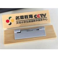 Wholesale Reusable Solid Wood Engraved Name Badges , Full Color Name Badges With Safety Pin from china suppliers