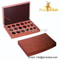 Wholesale Wood Coin Display Case, With Velvet Interiro, Stamped Logo, Professional Manufacturer from china suppliers