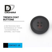 Wholesale Large Textured Matt Black Trench Coat Buttons Pattern Design With 4 Holes from china suppliers