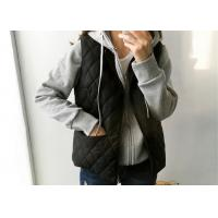 China Wadded Ladies Black Vest Quilted Sleeveless Jacket Warm Down 100% Polyester on sale