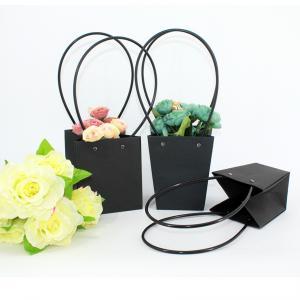 China Wholesale Pot Plants Waterproof Flower Packaging Carry Kraft Paper Bag, High Quality Flower Packaging Paper Bag on sale