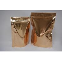China Golden sel-standing coffee bag with zipper on sale