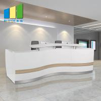 Wholesale Wooden Office Reception Desk / Comfortable Mesh Office Chair Curved Round Painting Glass from china suppliers