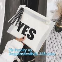 China ziplock candy bags, water proof cosmetic vinyl PVC/EVA slider zipper plastic bags, Reclose Holographic Slider Cosmetic M on sale