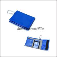 China cheap promotional high quanlity 2 fold polyester wallet purse with carabiners gift logo on sale