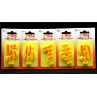 Wholesale Number Birthday Candles 0-9 Yellow Candle  with Orange color Stripe Painting from china suppliers