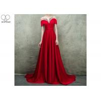 Wholesale Short Sleeve Long Tail Gown / Red Satin Evening Gown Bust Back Beaded For Women from china suppliers